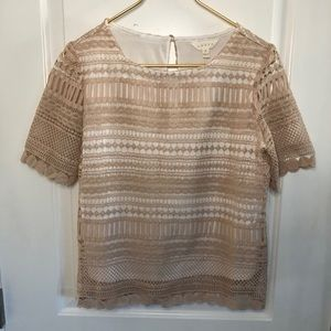 Adiva Crochet Lace Overlay Blouse